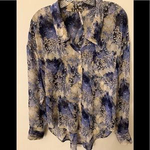 Free People Easy Rider Chiffon 3/4 Sleeve Blouse-S